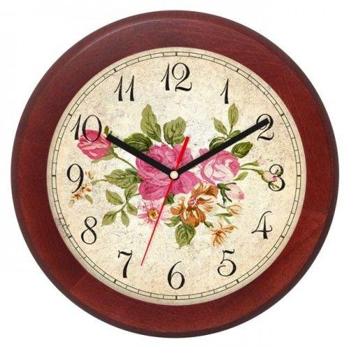 Zegar drewniany rondo róże #2