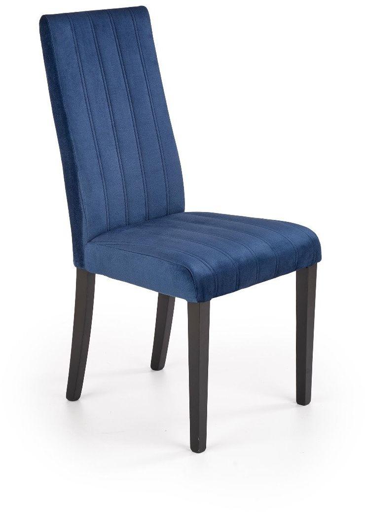 Krzesło DIEGO 2 VELVET granatowe tapicerowane na czarnych nogach  KUP TERAZ - OTRZYMAJ RABAT
