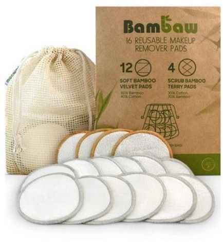 Wielorazowe płatki waciki kosmetyczne bambusowo-bawełniane Bambaw 16 szt.