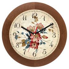 Zegar drewniany solid kwiaty