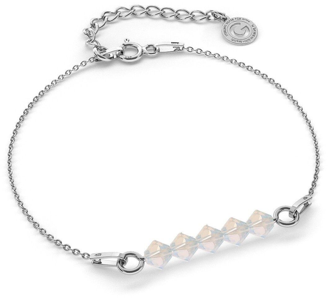 Srebrna bransoletka z kamieniami Swarovski, srebro 925 : Srebro - kolor pokrycia - Pokrycie platyną, SWAROVSKI - kolor kryształu - White Opal