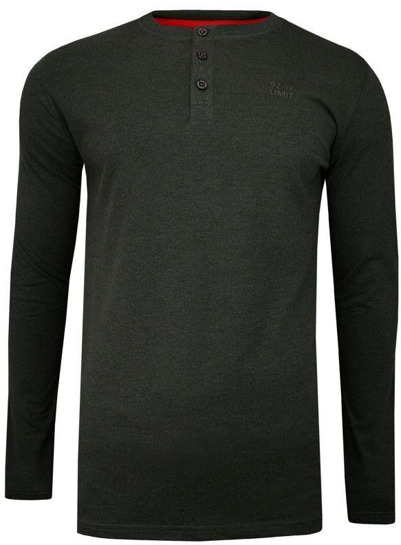 Grafitowy T-shirt (Koszulka), Długi Rękaw, Longsleeve -JUST YUPPI- Męski, Rozpinany, z Guzikami TSJTYUPLS9620ko4grafit