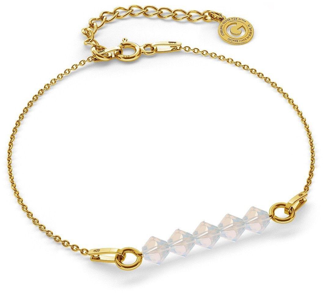 Srebrna bransoletka z kamieniami Swarovski, srebro 925 : Srebro - kolor pokrycia - Pokrycie żółtym 18K złotem, SWAROVSKI - kolor kryształu - White Opal