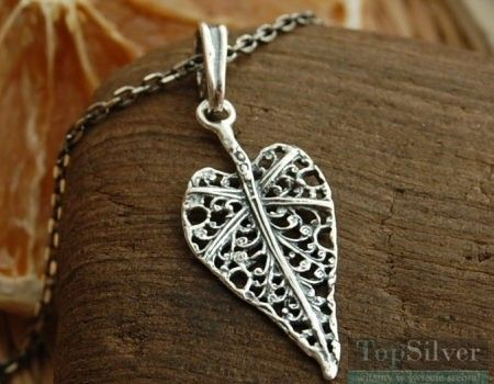 Liść serce - srebrny wisiorek