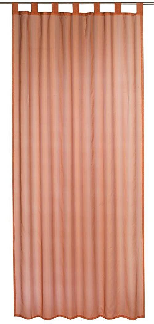 Elbersdrucke Zasłona w paski 05 gotowa dekoracja, poliester, brązowo-pomarańczowy, 245 x 140 cm