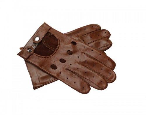 Skórzane rękawiczki samochodowe - jasny brąz, koniakowe