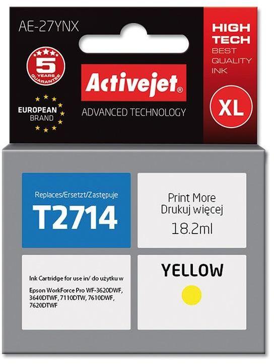 Tusz Activejet AE-27YNX (zamiennik Epson 27XL T2714; Supreme; 18 ml; żółty)