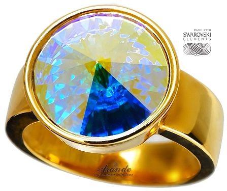 SWAROVSKI piękny pierścionek AURORA ZŁOTE SREBRO