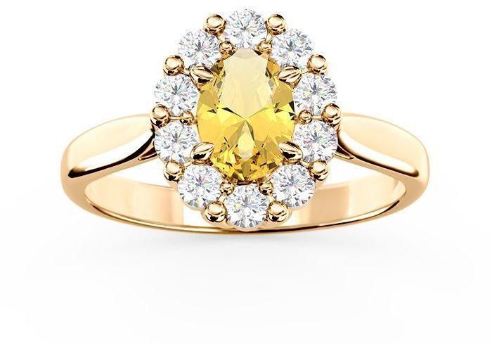Pierścionek zaręczynowy z cytrynem i diamentami bp-57z