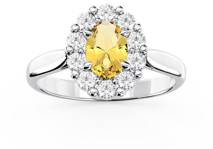 Pierścionek zaręczynowy z cytrynem i diamentami bp-57b