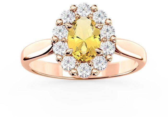 Pierścionek zaręczynowy z cytrynem i diamentami bp-57p