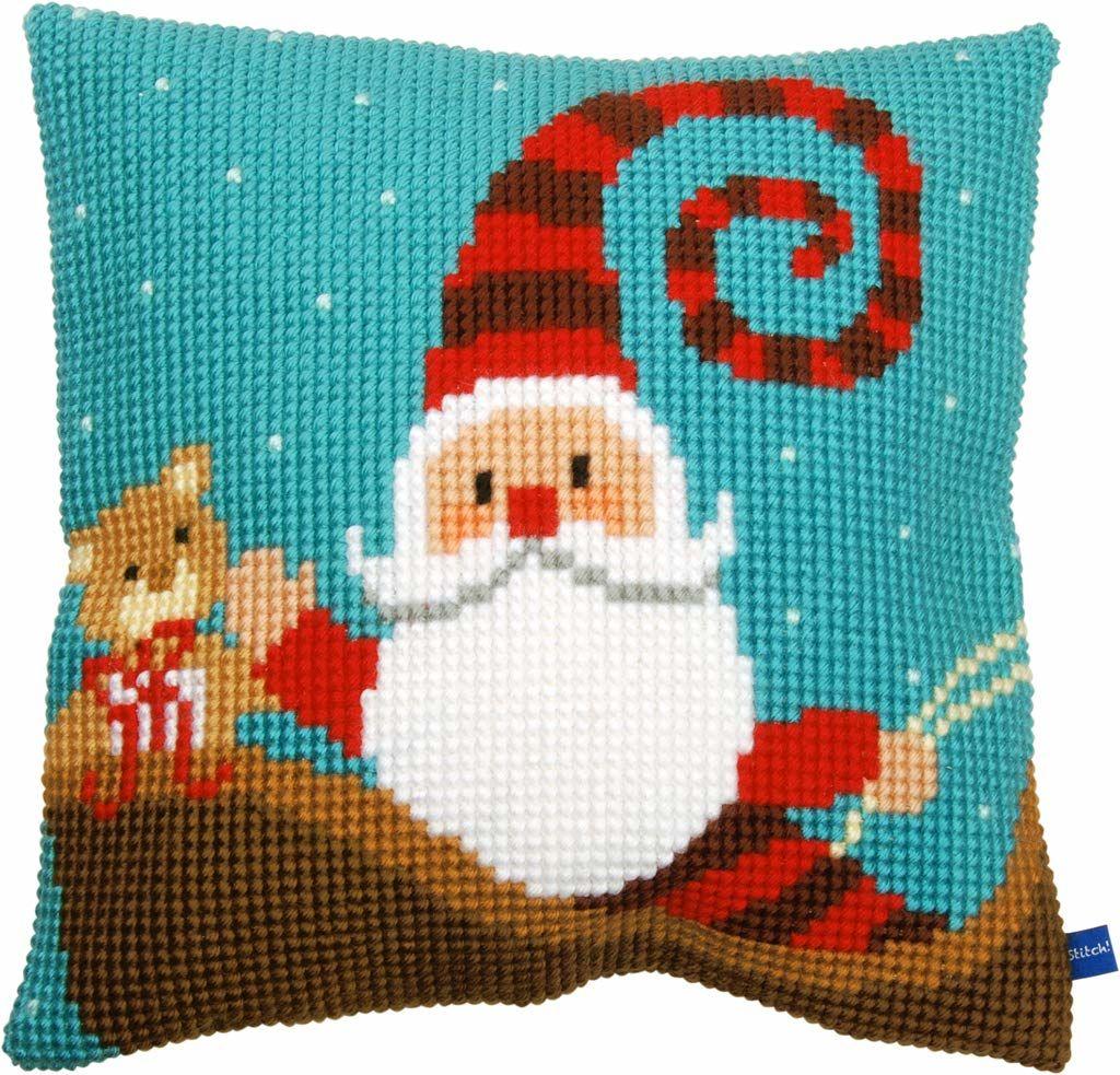 Vervaco poduszka z haftem krzyżykowym Happy Santa, mieszanka bawełny, różna, 43,5 x 23,5 x 30 cm