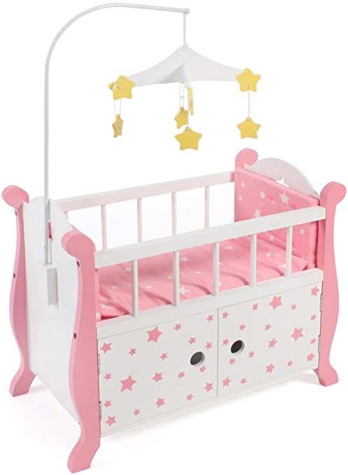 Bayer Chic 2000 510 88 łóżeczko dla lalek z mobilnym, różowe