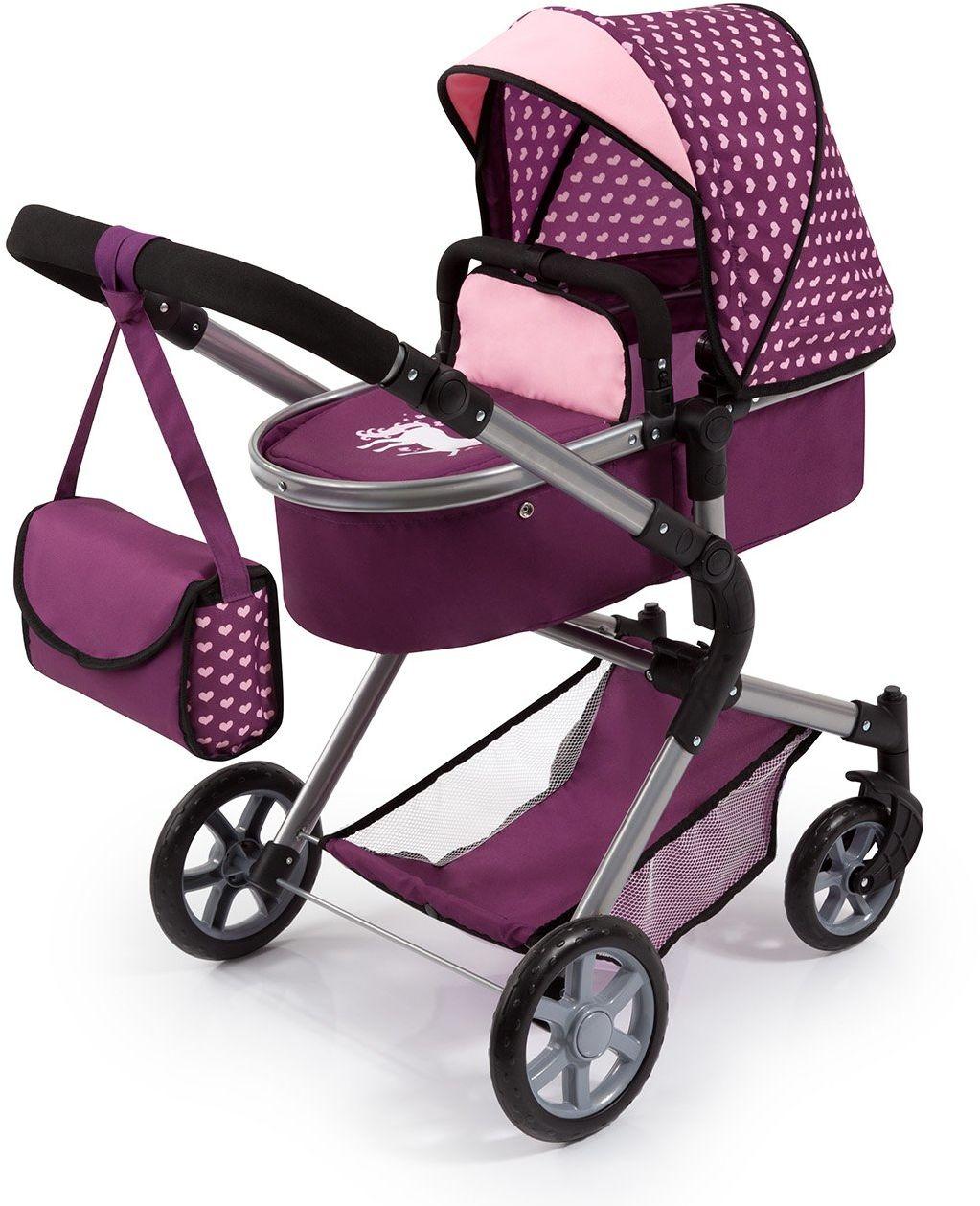 Bayer Design 18137AA City Neo Kombi wózek dla lalek z torbą do przewijania, przekształcany w samochód sportowy, z regulacją wysokości, składany, śliwkowy, różowy, jednorożec