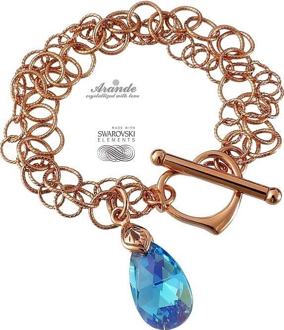 Kryształy bransoletka AQUA RÓŻOWE ZŁOTO SREBRO