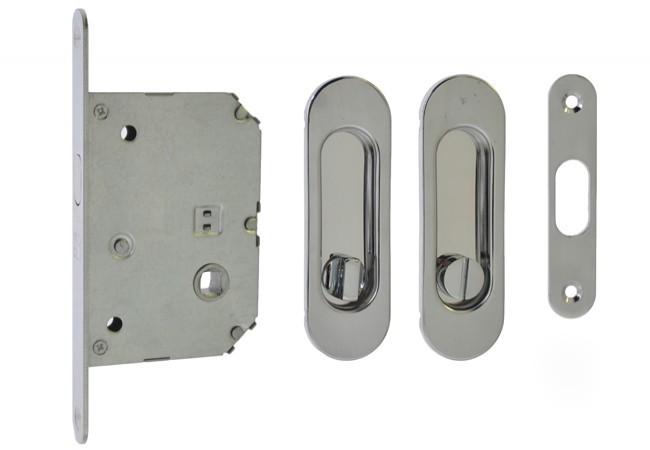 Zamek WC do drzwi przesuwnych z uchwytem owalnym 125x33 mm. chrom