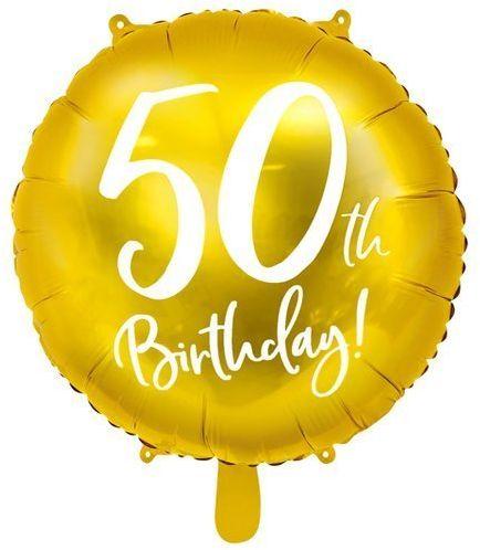 Balon foliowy 50th Birthday złoty średnica 45cm FB24M-50-019