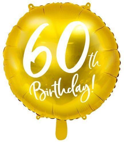 Balon foliowy 60th Birthday złoty średnica 45cm FB24M-60-019