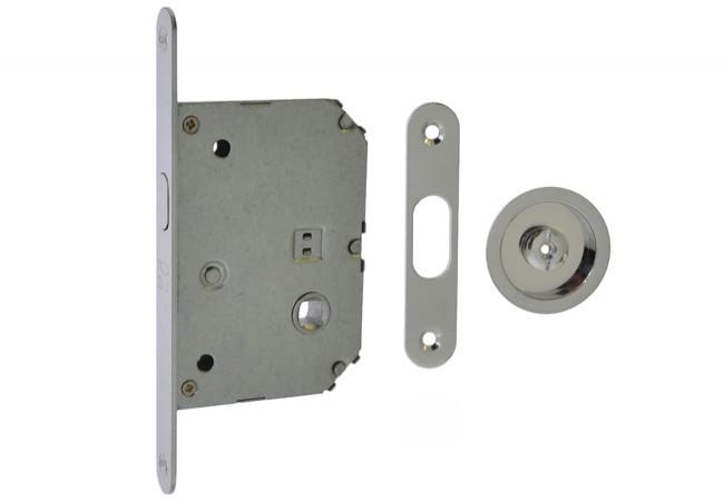 Zamek WC do drzwi przesuwnych z uchwytem okrągłym fi55 chrom