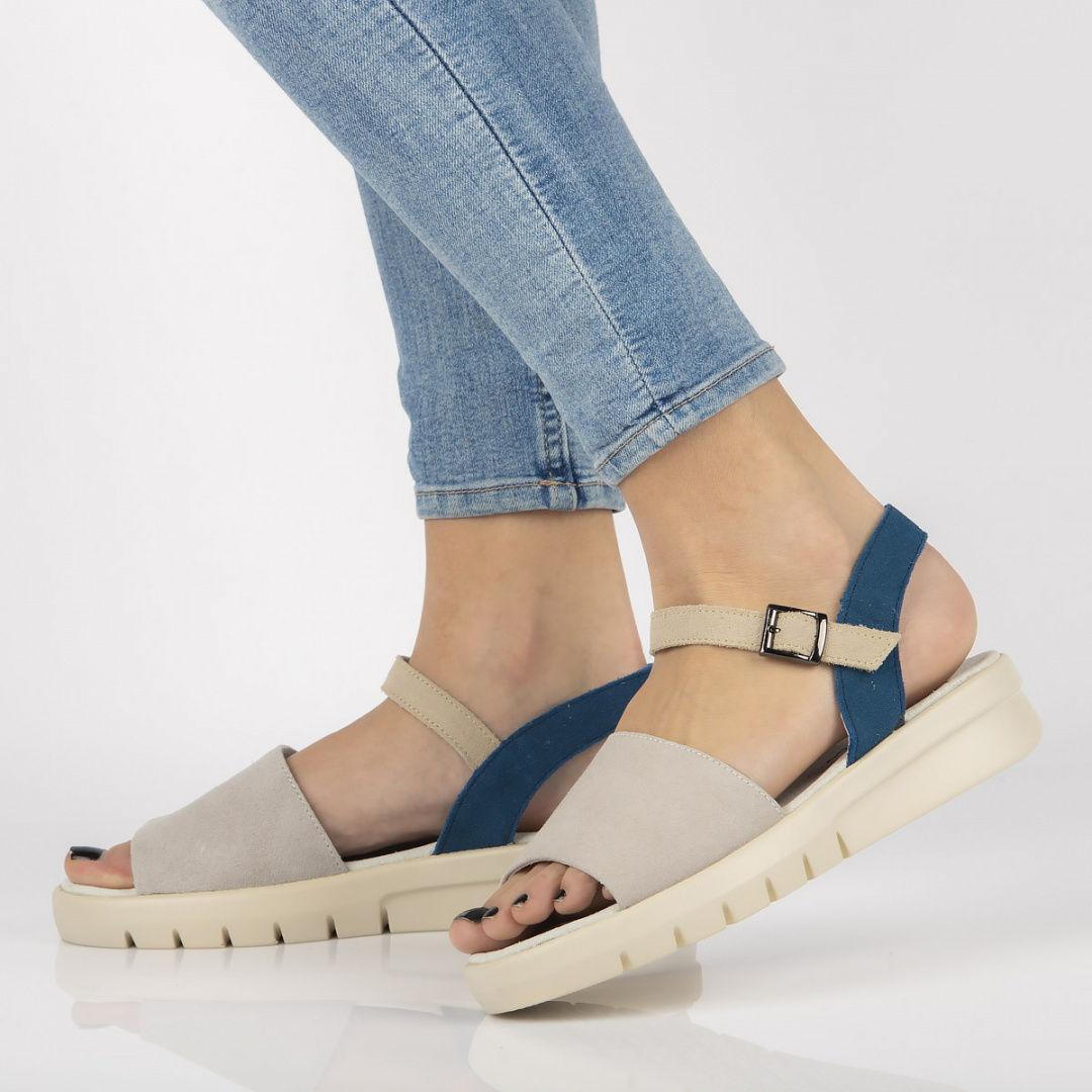 Skórzane sandały Filippo DS2021/21 GR szare