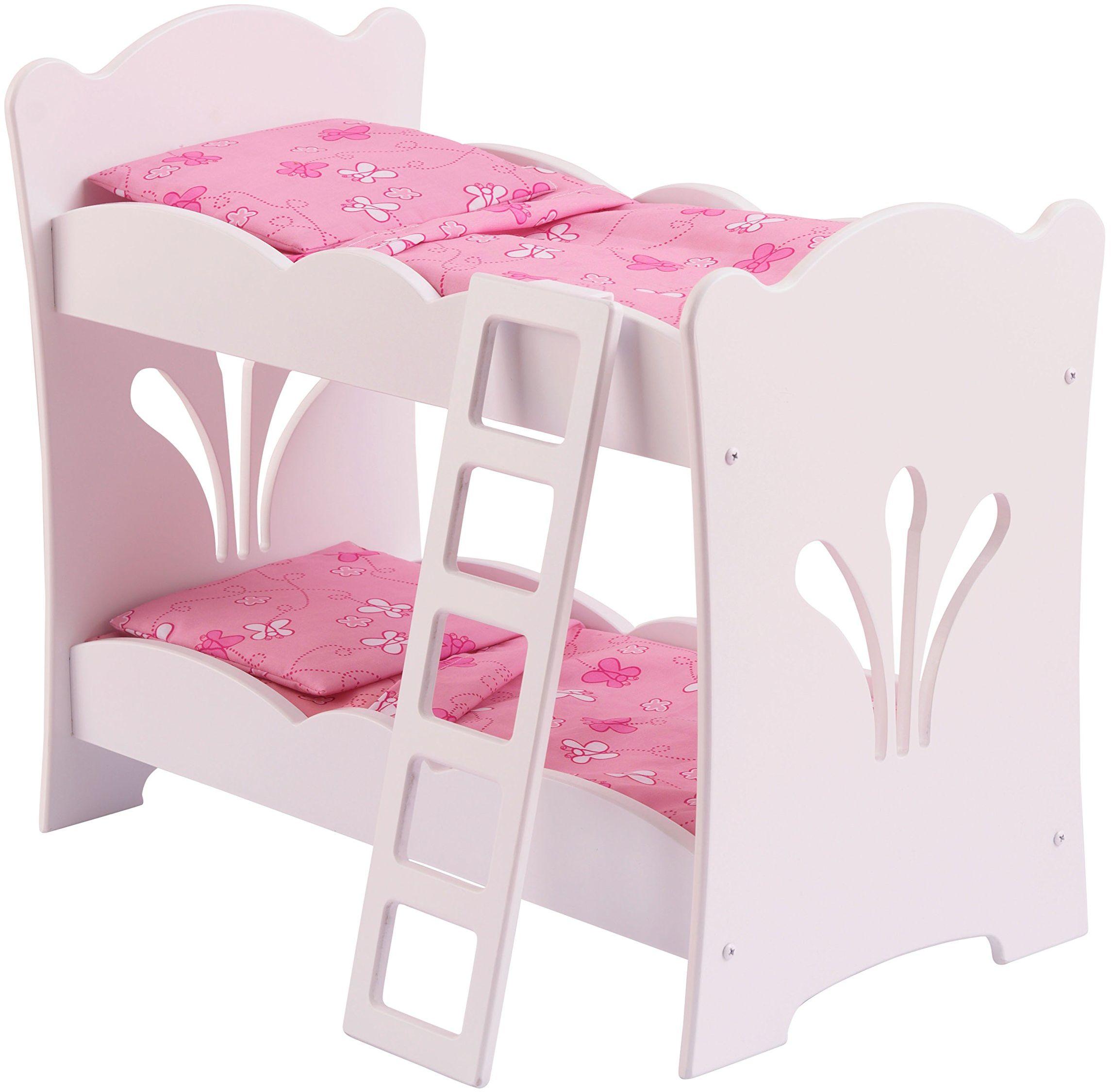 KidKraft Kleineines Lil''Doll 60130 łóżko dla lalek Lil'' Doll, pastelowe kolory, biały