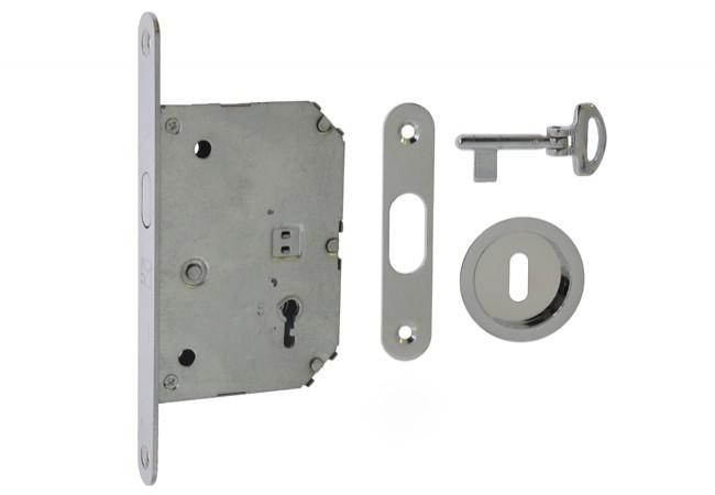 Zamek na klucz do drzwi przesuwnych z uchwytem okrągłym fi55 chrom