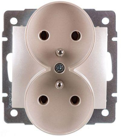 DOMO Gniazdo podwójne z uziemieniem śrubowe 16A 250V perłowy biały 011253130 24973