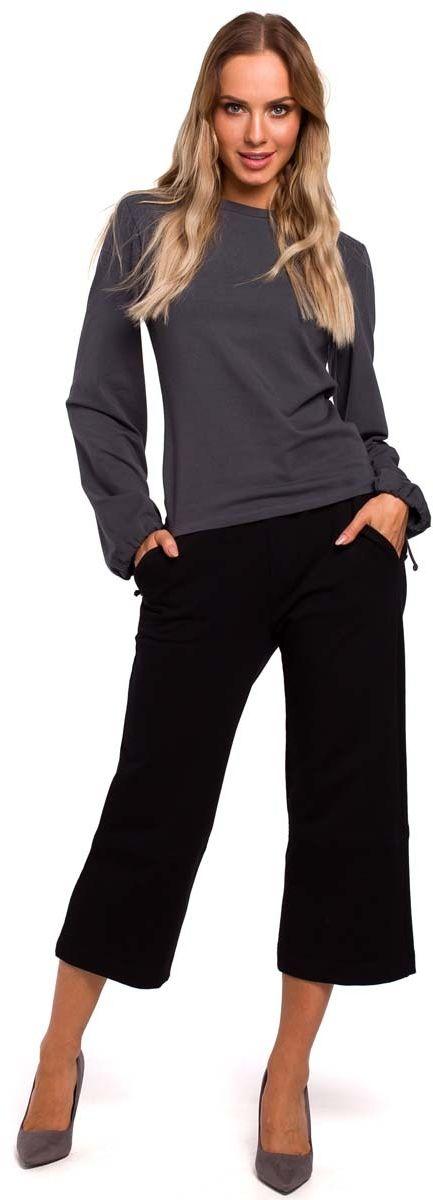 czarne spodnie dzianinowe 7/8 z szerokimi nogawkami