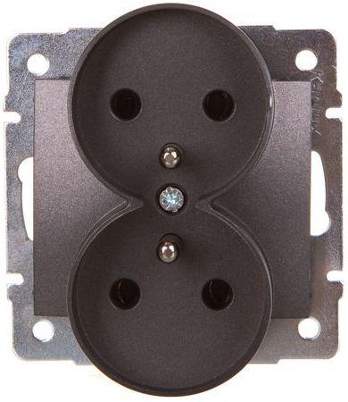 DOMO Gniazdo podwójne z uziemieniem śrubowe 16A 250V grafit 011253141 24914