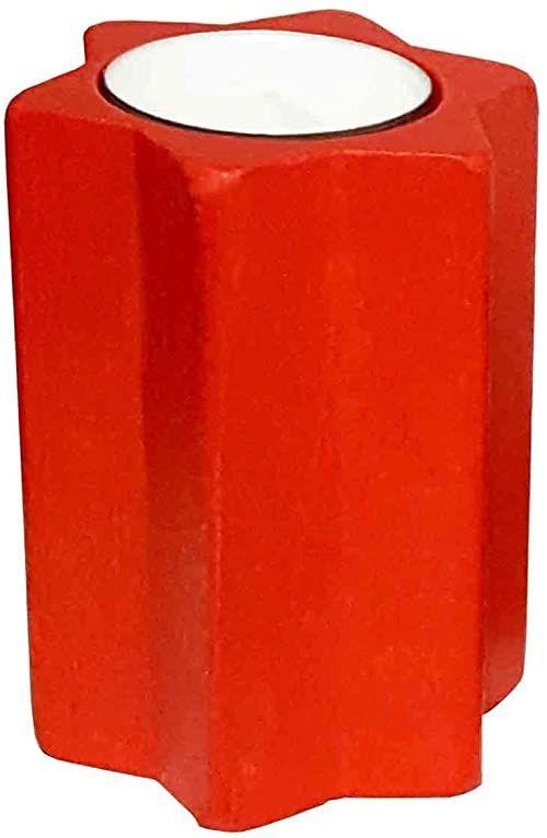 Hess Holzspielzeug 40025 - świecznik na podgrzewacze w kształcie gwiazdy, z drewna, czerwony, ok. 9 cm, dekoracja na specjalne okazje z Rudaw