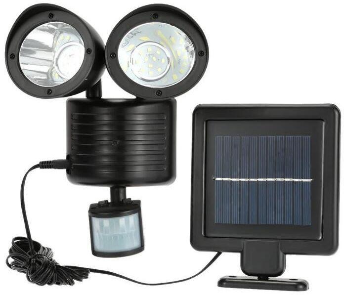 Solarna lampa z 2 głowicami oraz czujka PIR i zmierzchu