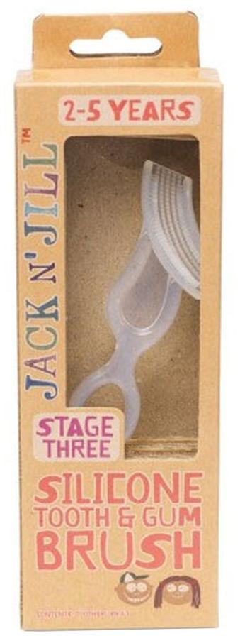 JACK-N-JILL Silicone Tooth&Gum Brush 1szt. - silikonowa szczoteczka do mycia i masażu dziąseł, 2-5 lat