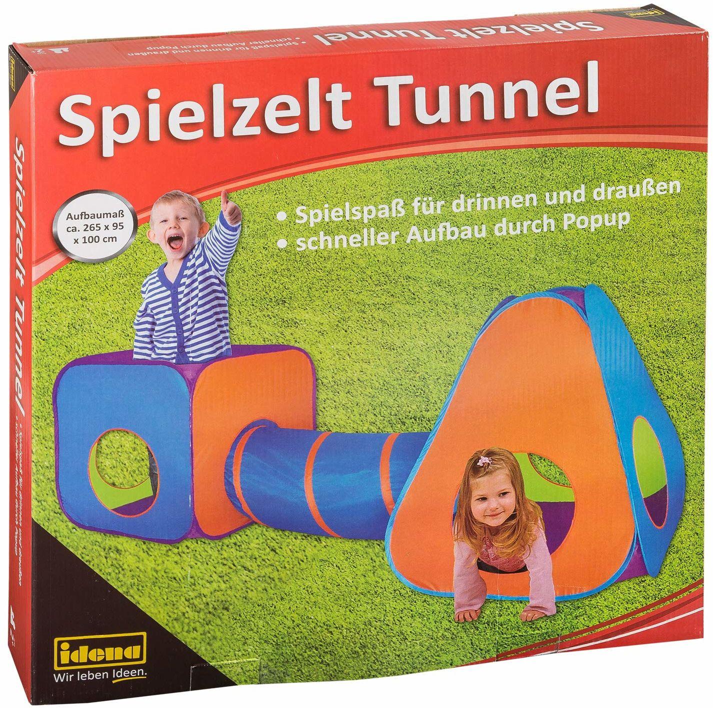 Idena 40118  namiot do zabawy z tunelem dla dzieci, nadaje się do użytku wewnątrz i na zewnątrz, ok. 265 x 95 x 100 cm
