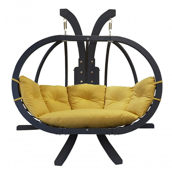 Zestaw: stojak Sintra Antracyt + fotel Swing Chair Double antracyt (11), musztardowy Sintra + Swing Chair Double (11)