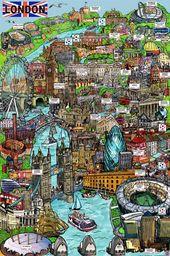 Plakat Londyn szkic i akcesoria artykuł