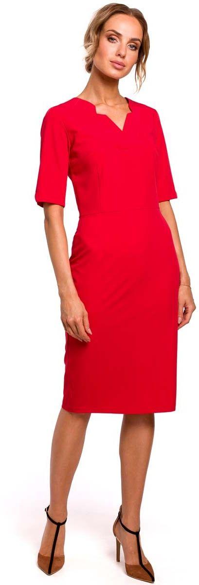 Czerwona Dopasowana Sukienka Dzienno-Wizytowa