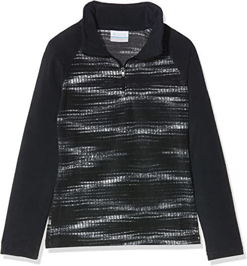 Columbia Sportswear Glacial II kurtka polarowa dla dziewcząt, z nadrukiem połowy suwak, Black Diamond, XS