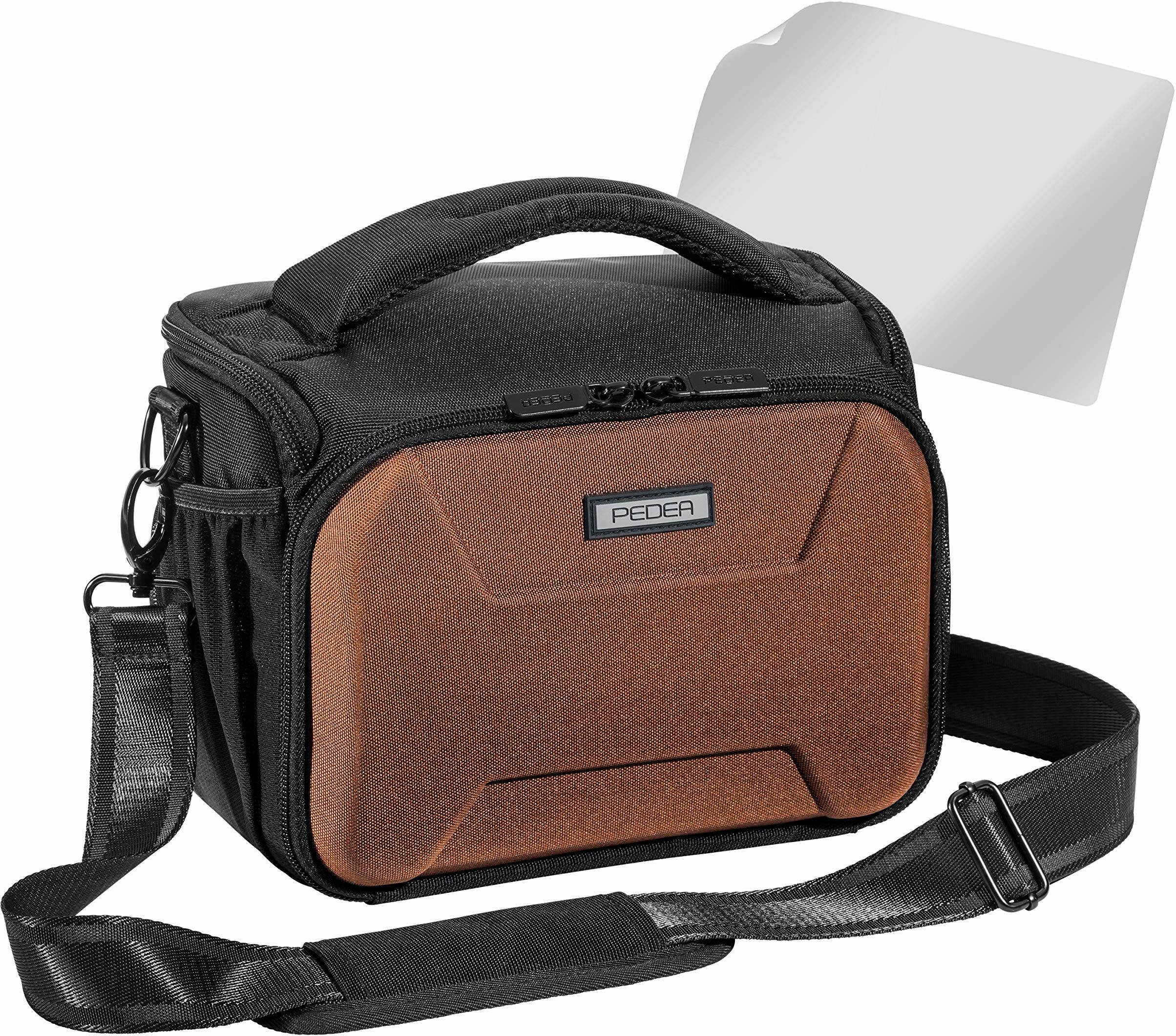 "PEDEA DSLR torba na aparat""Guard"" z folią ochronną na wyświetlacz do Nikon D500 D750 D3500 D5200 D300 Coolpix B500 / Sony Alpha 7 7M2 7M3 7R II DSC-RX10 / Canon EOS 77D 200D 130D 0D, rozm. XL brązowy"