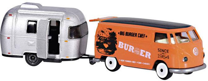 Majorette - Vintage VW T1 pomarańczowy z przyczepą 2052014