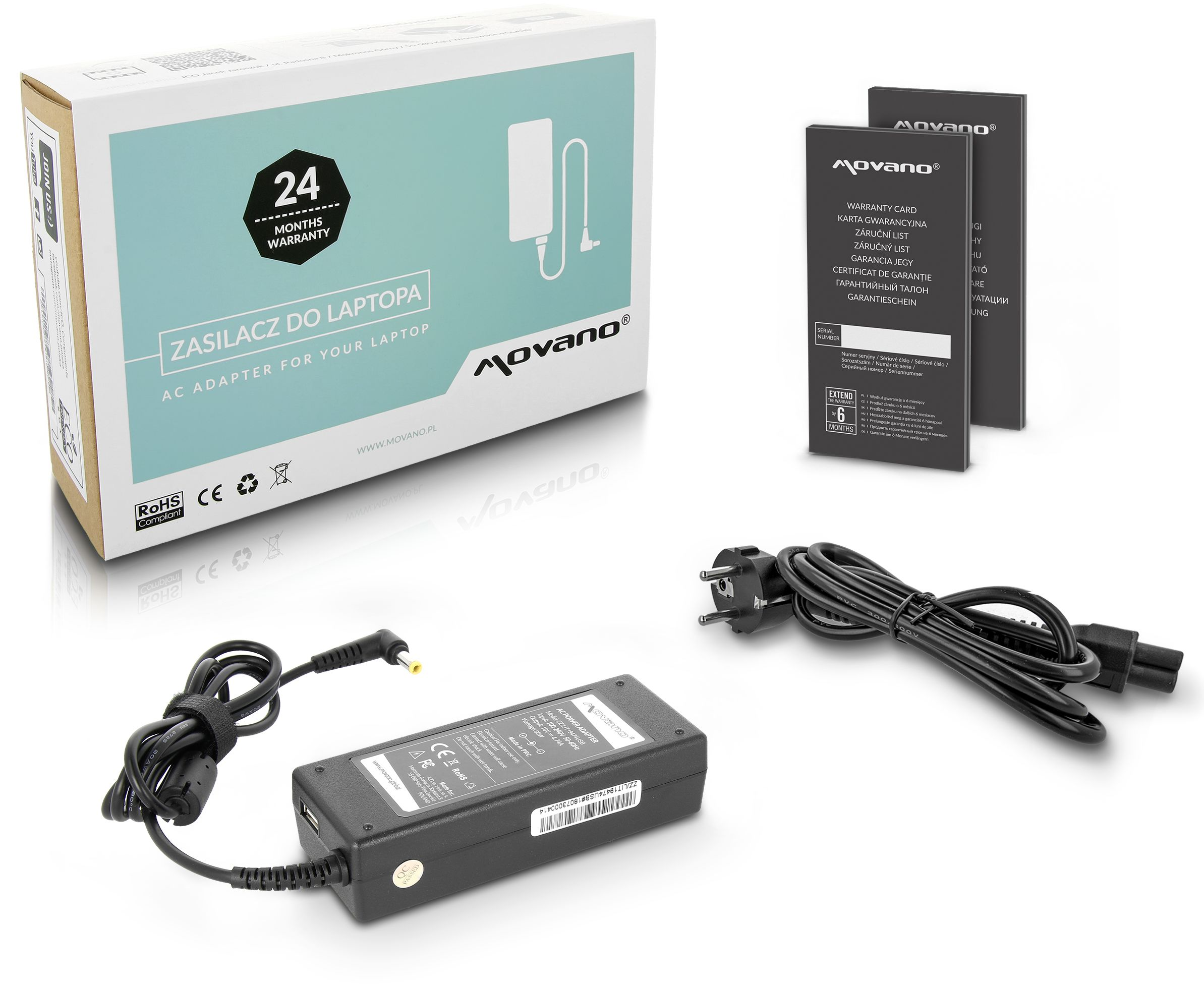ładowarka / zasilacz movano 19v 4.74a (5.5x2.5), z wyjsciem USB - asus, toshiba, msi, itp