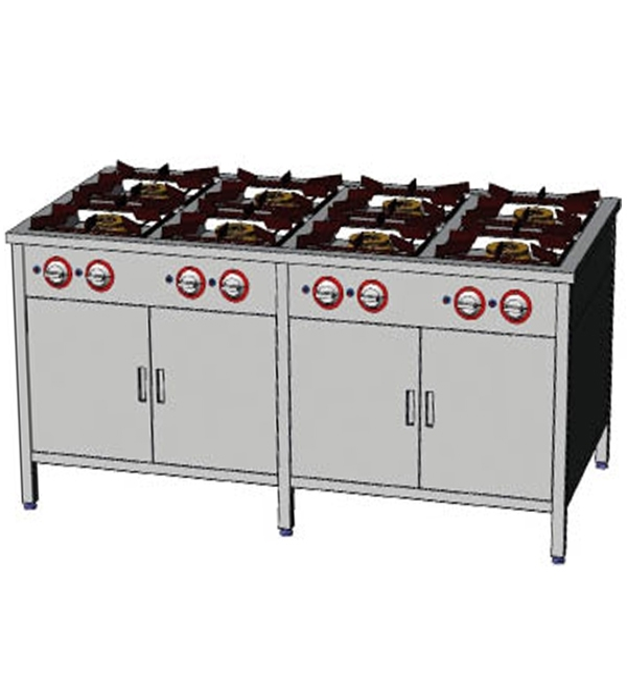 Kuchnia gazowa 8-palnikowa z dwoma szafkami EGAZ TG 8736.IV