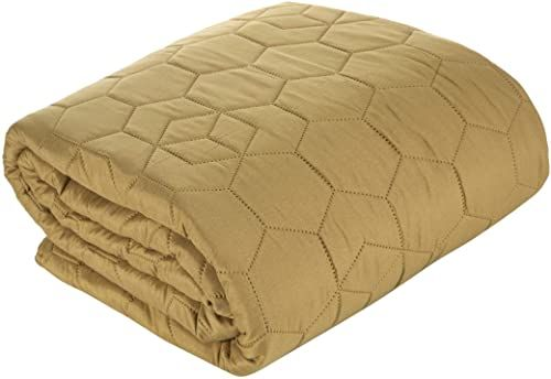 Deisgn91 narzuta na łóżko, prosta narzuta dzienna, wzór plastra miodu, pikowana narzuta do sypialni, salonu, pokoju gościnnego, kolor oliwkowo-zielony, 170 x 210 cm