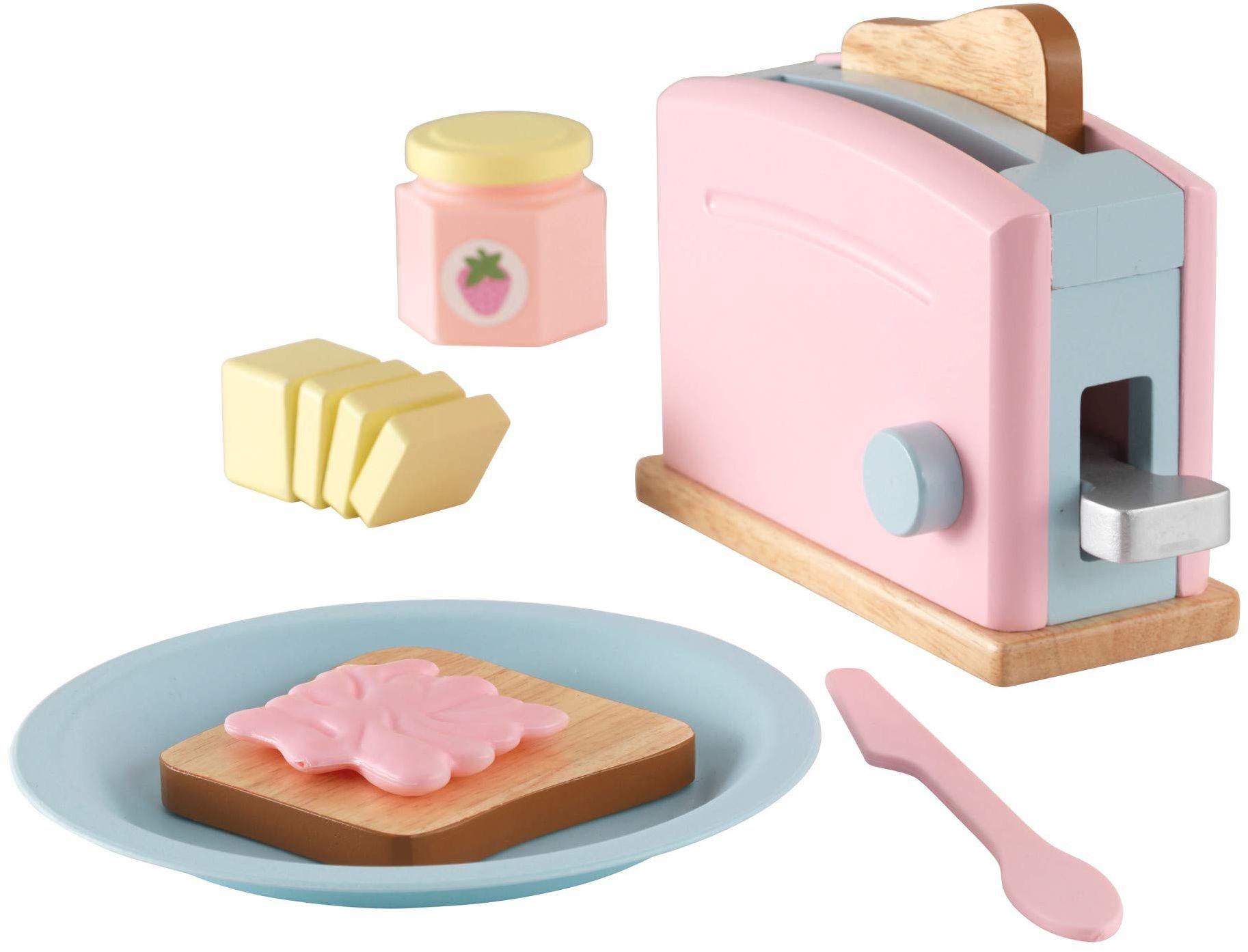 KidKraft 63374 pastelowy toster drewniany udawany zestaw do jedzenia, naczynia kuchenne i akcesoria dla dzieci do zabawy w kuchni