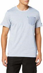 Regatta męska koszulka teagan Coolweave paski piersiowa kieszeń T-shirt White/Oxford Blue S