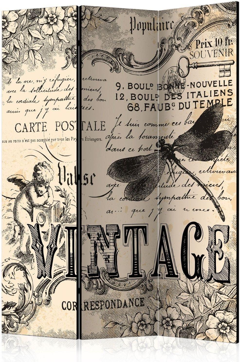Parawan 3-częściowy - vintage correspondence [room dividers]