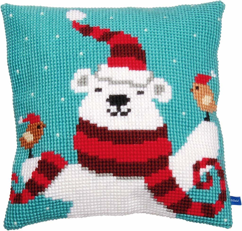 Vervaco Poduszka z haftem krzyżykowym ''Happy Christmas'' niedźwiedź, mieszanka bawełny, różna, 26 x 1 x 7,5 cm