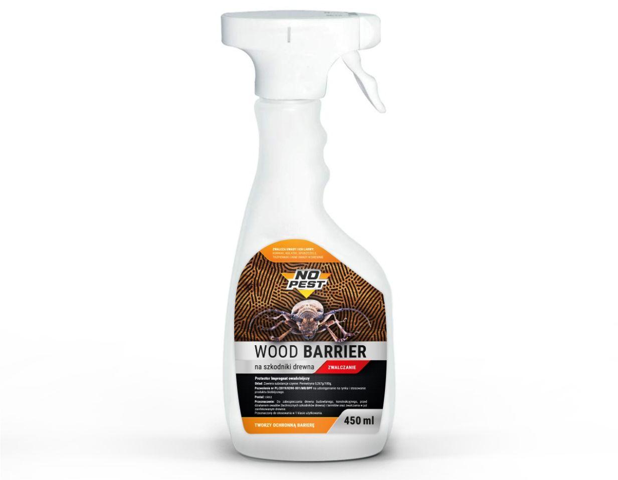 Środek na korniki, spuszczele, kołatki NO PEST WOOD BARRIER spray 450ML.