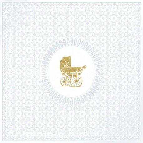 SERWETKI PAPIEROWE - Złoty wózek dziecięcy - Baby Pearl - na chrzciny - tłoczone