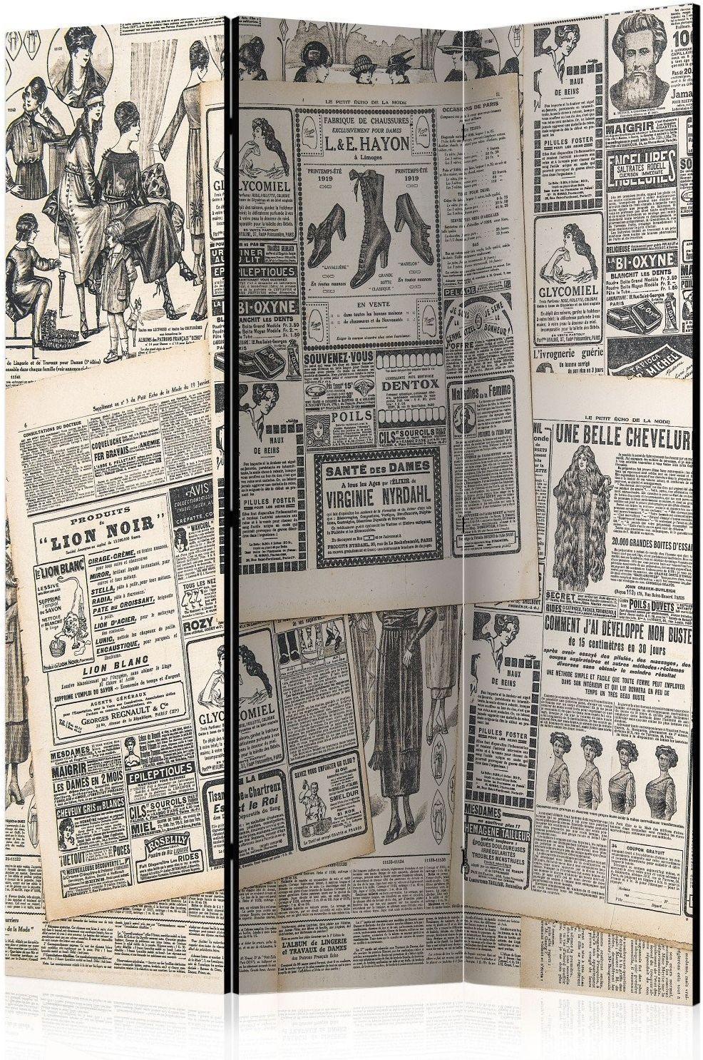 Parawan 3-częściowy - vintage newspapers [room dividers]
