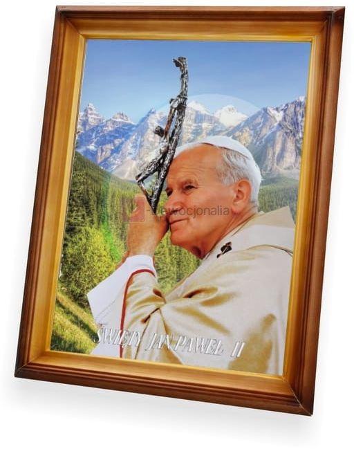 Obraz Święty Jan Paweł II z krzyżem - 47x37